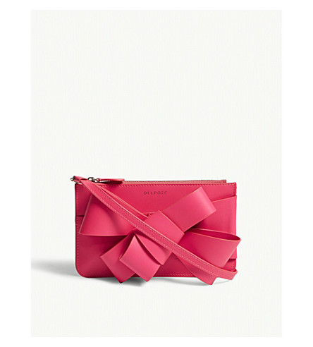 DELPOZO Bow detail leather mini cross-body bag (Shocking+pink