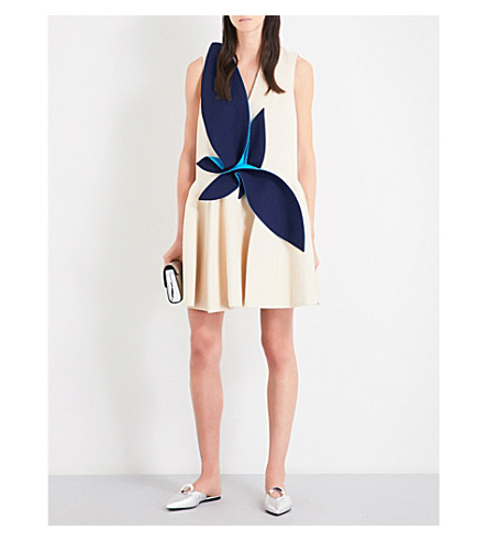 DELPOZO Leaves cotton mini dress (Ivory+brown