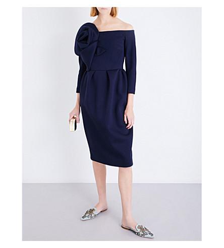 DELPOZO Flower-appliqué jersey dress (Insignia+blue