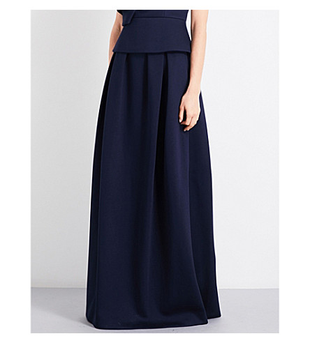 DELPOZO Pleated neoprene maxi skirt (Insignia+blue