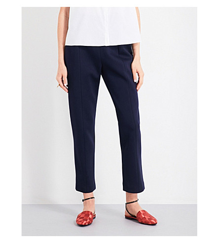 DELPOZO Tapered cropped neoprene trousers (Insignia+blue