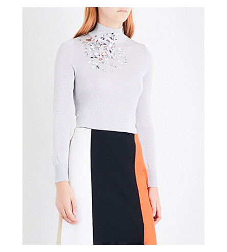 DELPOZO Sequin-embellished turtleneck jumper (Silver