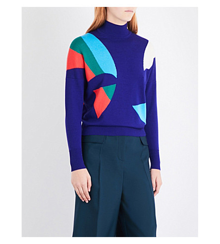 DELPOZO Abstract turtleneck wool jumper (Aubergine+purple