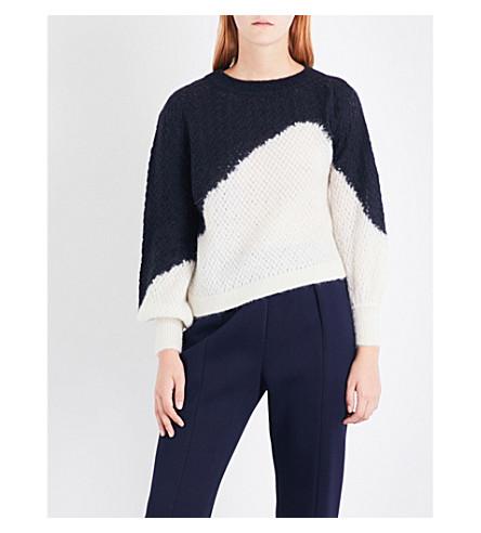 DELPOZO Contrast-panel open-knit jumper (Dark+azurite+blue