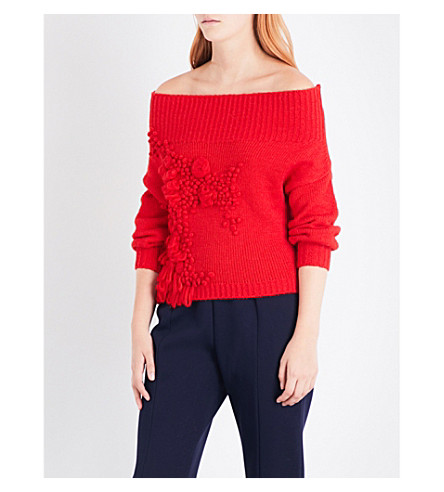 DELPOZO Textured off-the-shoulder jumper (Bittersweet+red
