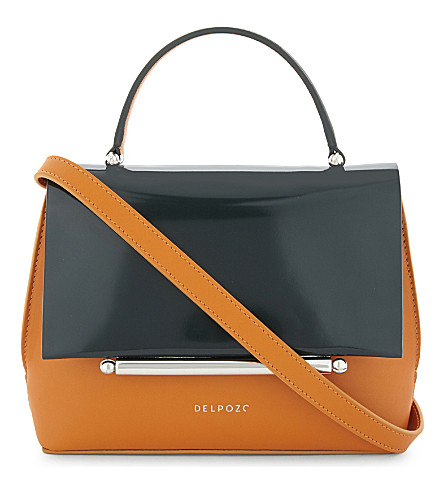 DELPOZO Patent leather cross-body bag (Burnt+orange/green