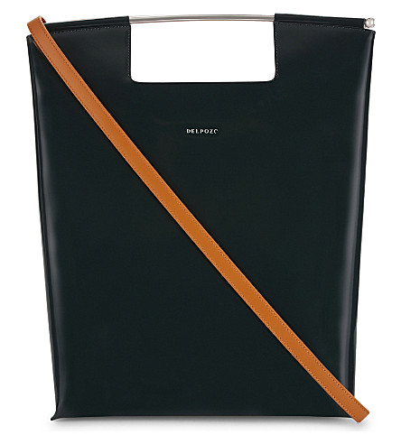 DELPOZO Leather tote (Burnt+orange/green