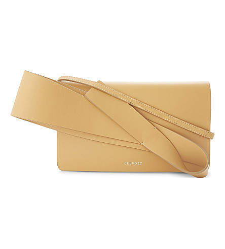 DELPOZO Orchid clutch bag (Light+camel