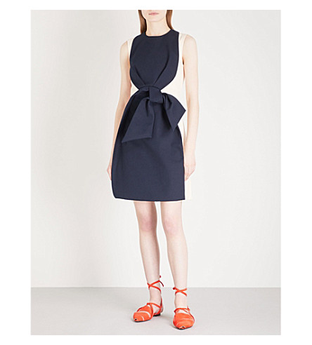 DELPOZO Bow-detail sleeveless cotton mini dress (Cougar+black