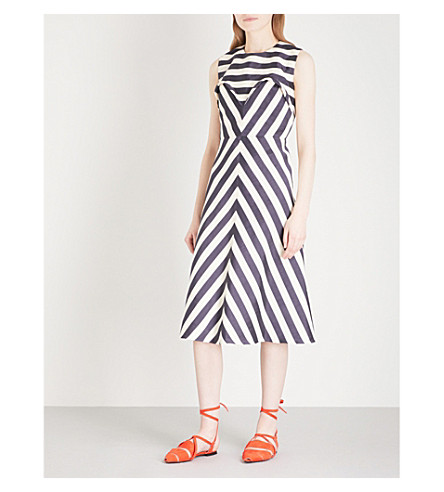 DELPOZO Striped sleeveless fit-and-flare linen-blend dress (Print+on+white+base