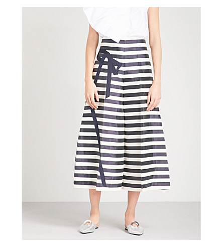 DELPOZO Bow-detailed striped wide linen-blend trousers (Print+on+white+base