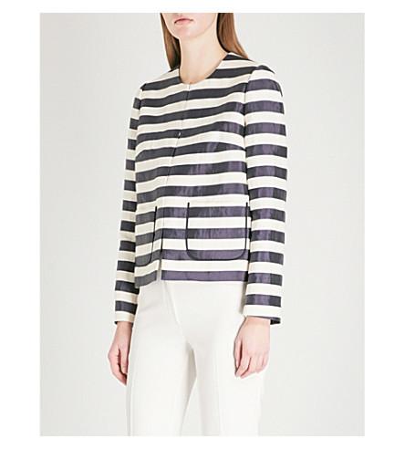 DELPOZO Striped linen-blend jacket (Print+on+white+base