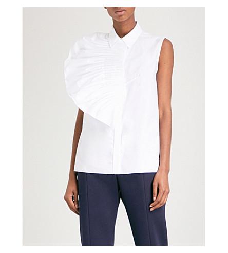 DELPOZO Pleated fan-detailed cotton-poplin shirt (Optical+white