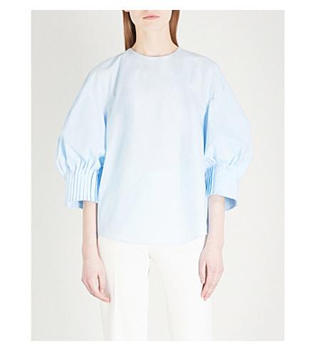 DELPOZO Pintuck-cuff cotton top (Illusion+blue