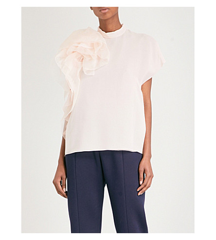 DELPOZO Ruffle-detailed silk-georgette blouse (Milky+pink