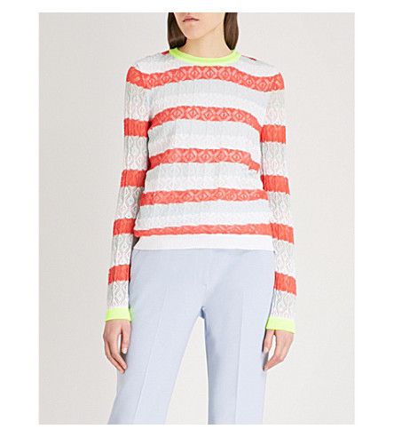 DELPOZO Striped cotton-blend jumper (Coral+pink