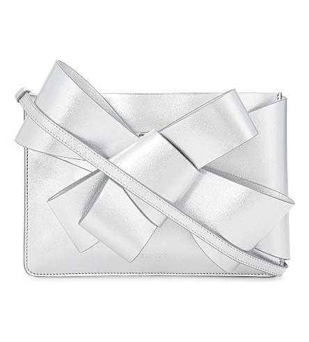 DELPOZO Mini Bow metallic leather clutch (Silver