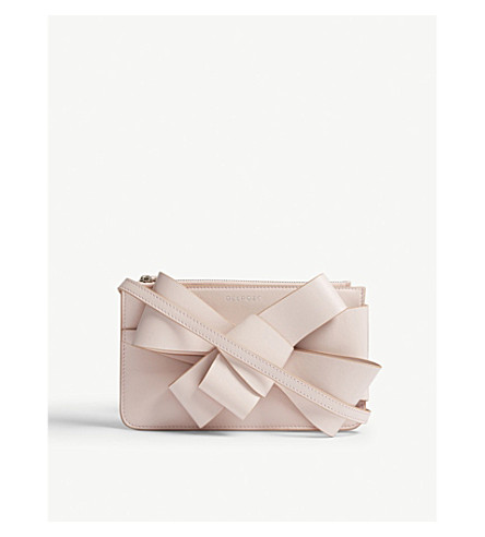 DELPOZO Mini leather bow clutch bag (Baby+pink