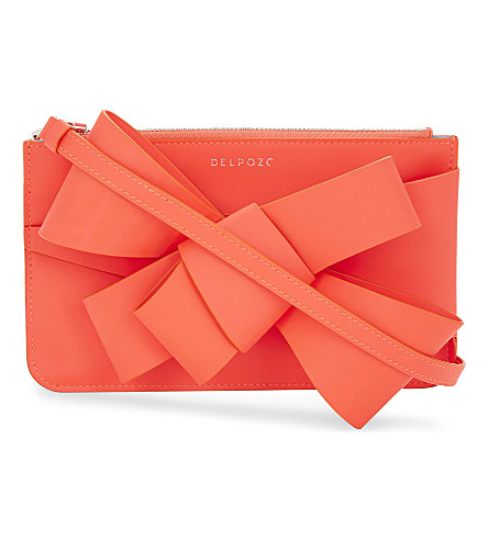 DELPOZO Mini Bow neon leather clutch (Coral calypso