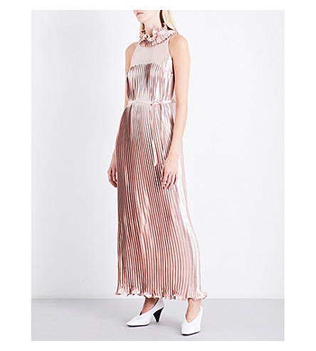 HUISHAN ZHANG Metallic pleated dress (Pink