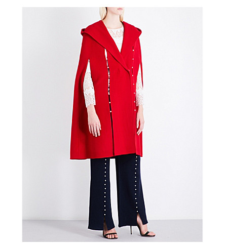 HUISHAN ZHANG Bead-embellished hooded wool coat (Red