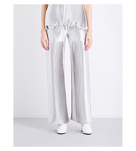 HUISHAN ZHANG Metallic pleated wide high-rise trousers (Silver