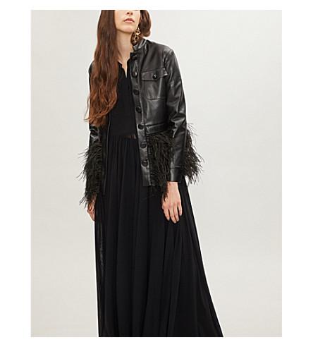 HUISHAN ZHANG Ostrich feather-hem leather jacket (Jet+black