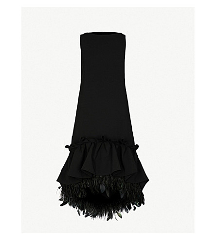 HUISHAN ZHANG Frilled feather-trim sleeveless woven dress (Black