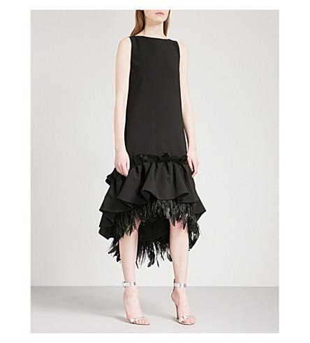 HUISHAN ZHANG Frilled feather-trim sleeveless woven dress (Black
