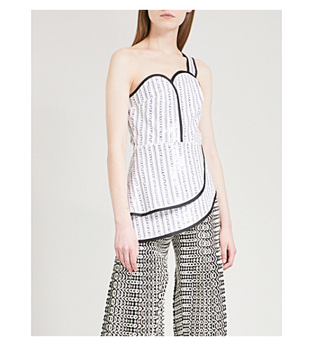 HUISHAN ZHANG Sequinned bustier top (White+black