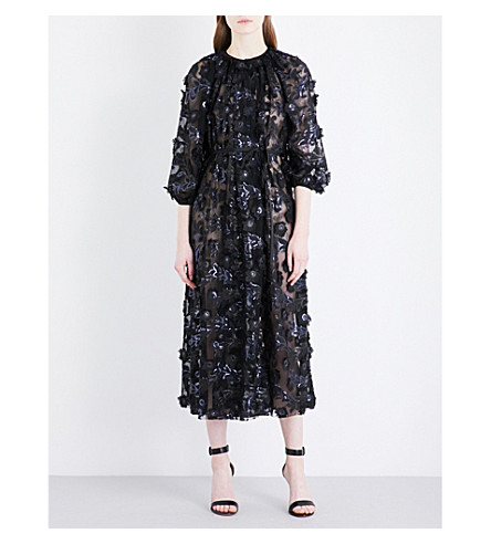 HUISHAN ZHANG Floral-embellished chiffon midi dress (Black