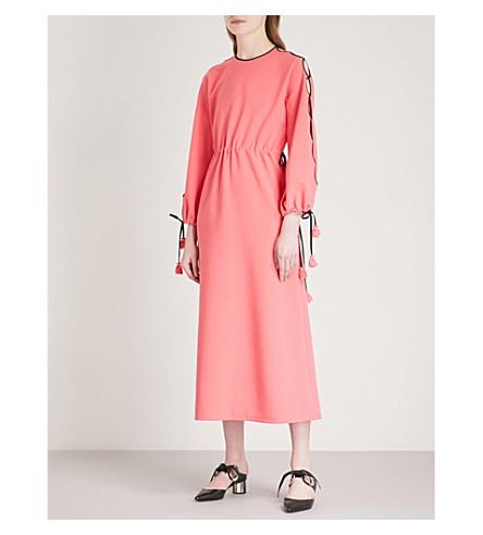 HUISHAN ZHANG Cutout sleeve drawstring crepe dress (Bubblegum
