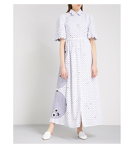 HUISHAN ZHANG Reversible embroidered fit-and-flare woven shirt dress (Blue/white