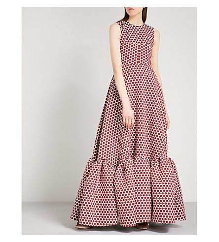 HUISHAN ZHANG Polka dot sleeveless fit-and-flare jacquard gown (Burgendy