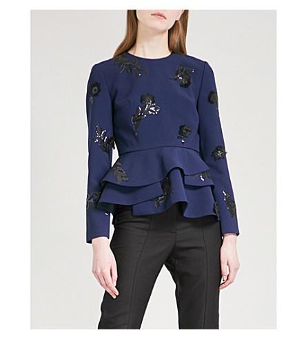 HUISHAN ZHANG Sequin-embellished flared crepe top (Navy+black