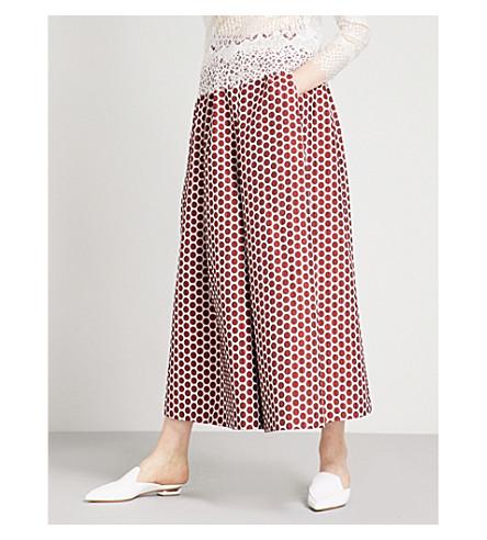 HUISHAN ZHANG Polka dot wide high-rise jacquard trousers (Red