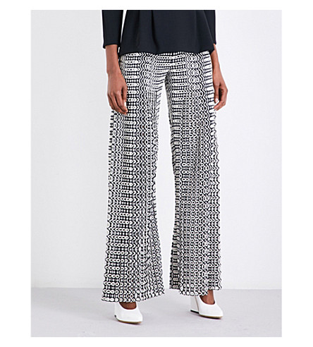 HUISHAN ZHANG Wide-leg embroidered crepe trousers (Black