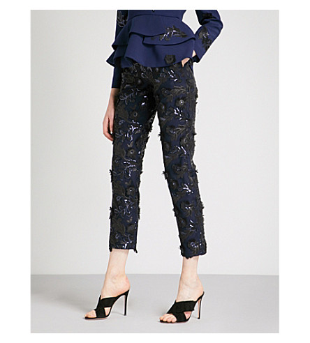 HUISHAN ZHANG Floral-embellished straight high-rise woven trousers (Navy+black