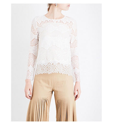 HUISHAN ZHANG Piper floral-lace top (White