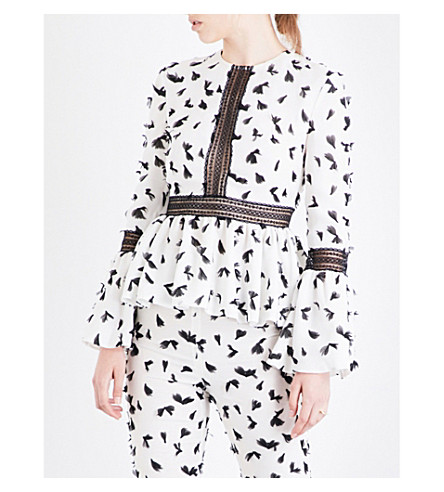 HUISHAN ZHANG Feather-appliqué woven top (White/black