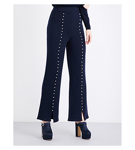 HUISHAN ZHANG Caron faux pearl-embellished flared wool trousers (Navy