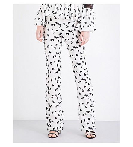 HUISHAN ZHANG Feather-appliqué flared woven trousers (White/black