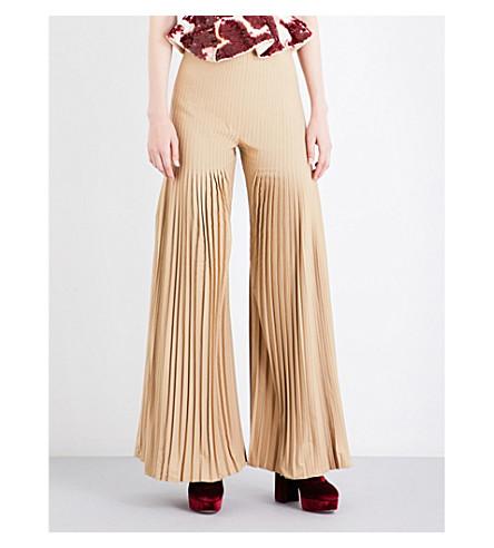 HUISHAN ZHANG Mariela flared pleated gabardine trousers (Khaki