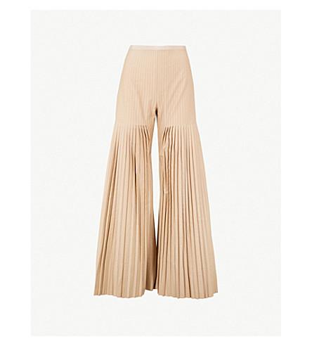 HUISHAN ZHANG Mariela flared pleated gabardine trousers (Moccasin