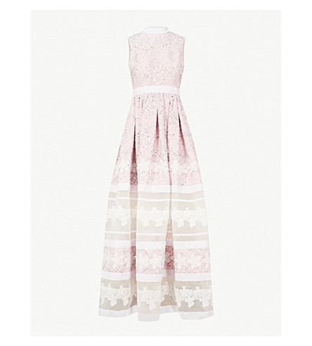 HUISHAN ZHANG Floral-lace silk gown (Blossom+white