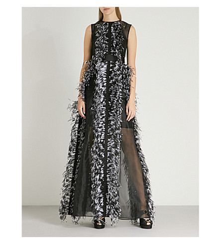 HUISHAN ZHANG Feather-trimmed silk dress (Black+black+white