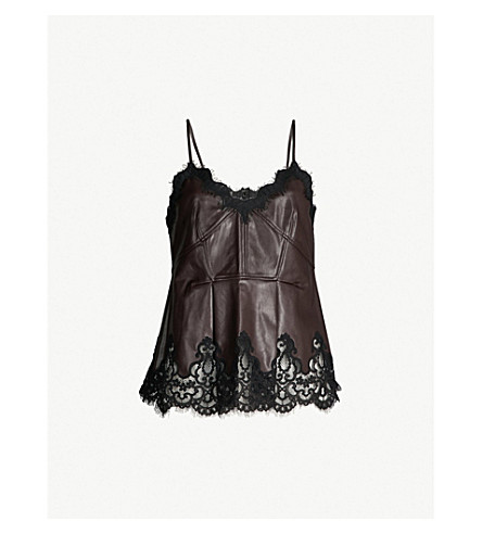 HUISHAN ZHANG Cory lace-trimmed faux-leather top (Bordeaux black