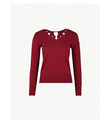 HUISHAN ZHANG Faux-pearl and crystal-embellished wool top (Bordeaux