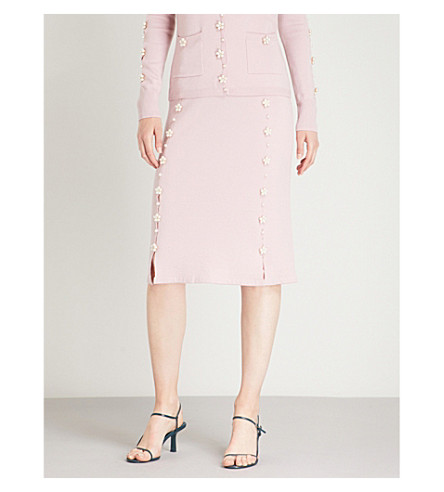 HUISHAN ZHANG Faux-pearl and crystal-embellished wool skirt (Blossom