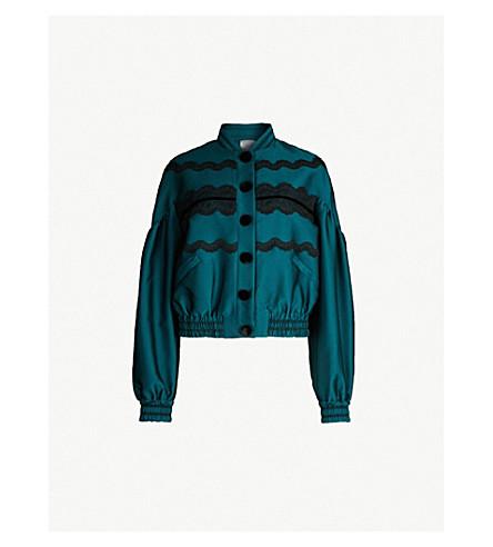 HUISHAN ZHANG Lela lace-trimmed satin jacket (Emerald+black